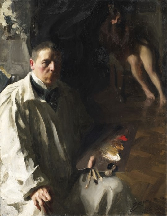 Self-portrait with a model. Anders Zorn