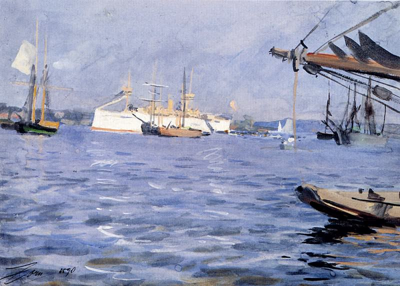 The Battleship baltimore In Stockholm Harbor. Anders Zorn