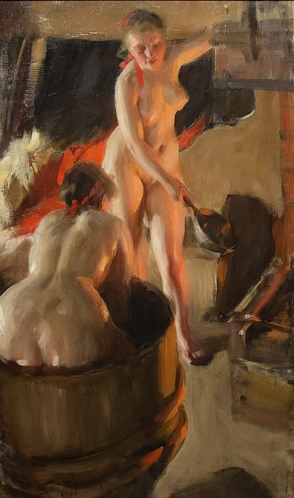 Women bathing in the sauna. Anders Zorn
