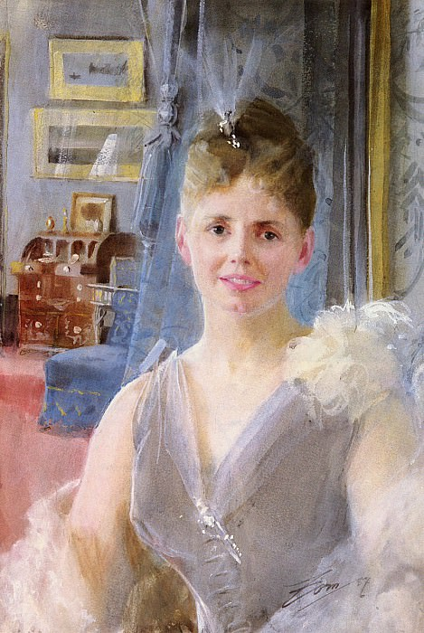Zorn Anders Portrait Of Edith Palgrave Edward In Her London Residence. Anders Zorn