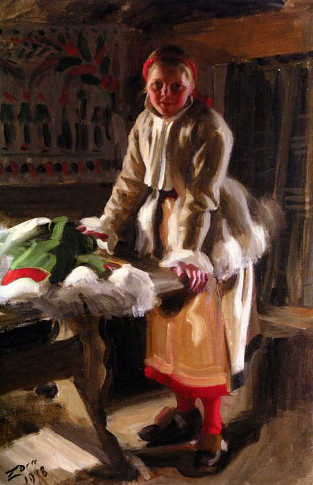 A Girl from Mora in Winter costume 1918. Anders Zorn