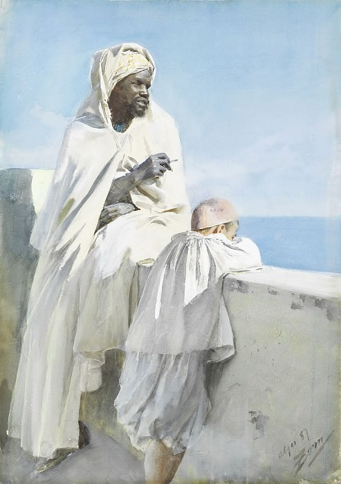 Man and boy in Algiers. Anders Zorn