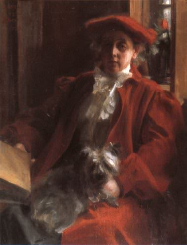Emma Zorn and Mouche the dog. Anders Zorn