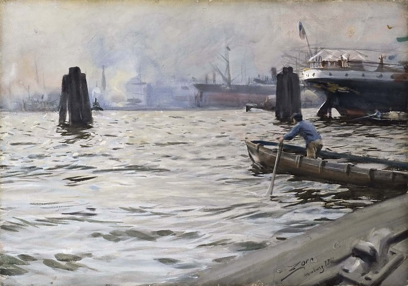 The Port of Hamburg. Anders Zorn
