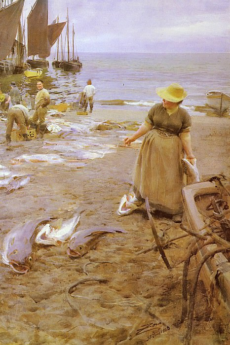 Fiskmarknad I St Ives. Anders Zorn
