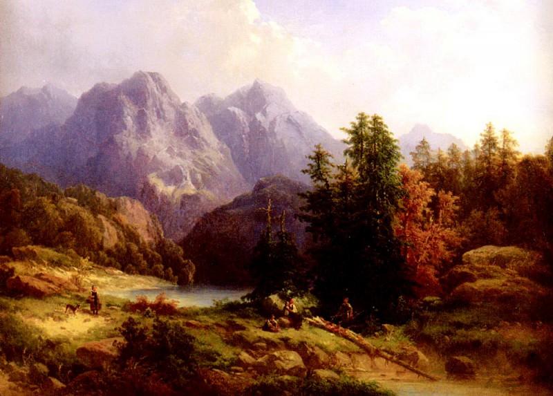 Baumgartner H Woodsman And Family In An Alpine Landscape. Swiss artists