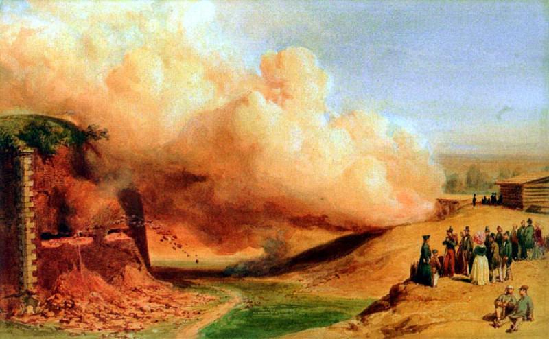Girardet Karl Genietruppen Beim Sprengmanover 1847. Swiss artists
