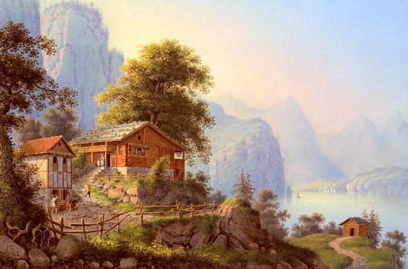 Bleuler Ludwig Vue Du Grutli Au Lac Des Quatre Cantons. Swiss artists