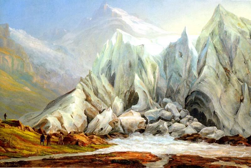Fruhes Schweizer Schule Gletscher Landschaft. Swiss artists