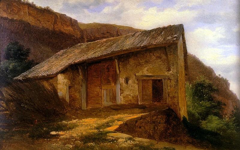 Calame Alexandre A farm House On The Side Of A Mountain. Swiss artists