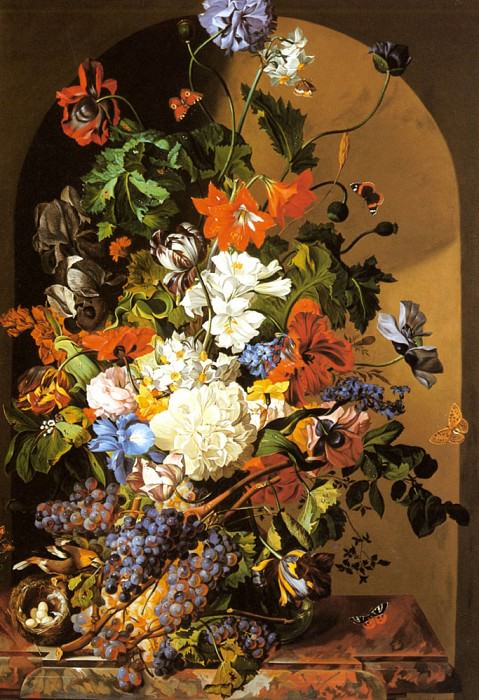 Zinnogger Leopold A Still Life With Flowers And Grapes. Швейцарские художники