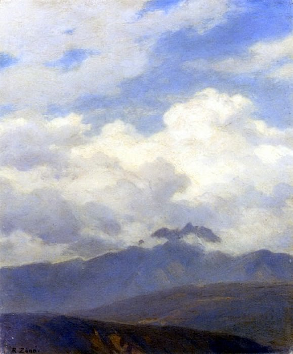 Zund Robert A View Of Mount Pilatus. Swiss artists