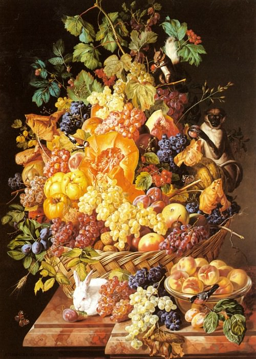 Zinnogger Leopold A Basket Of Fruit With Animals. Швейцарские художники