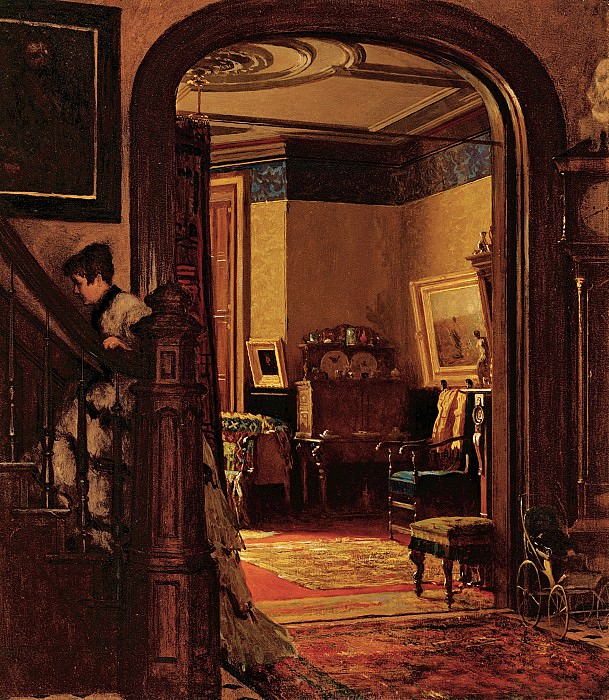 Eastman Johnson (1824-1906) - Not at Home (An Interior of the Artists House) (ca. 1873 Brooklyn Museum). part 2 American painters