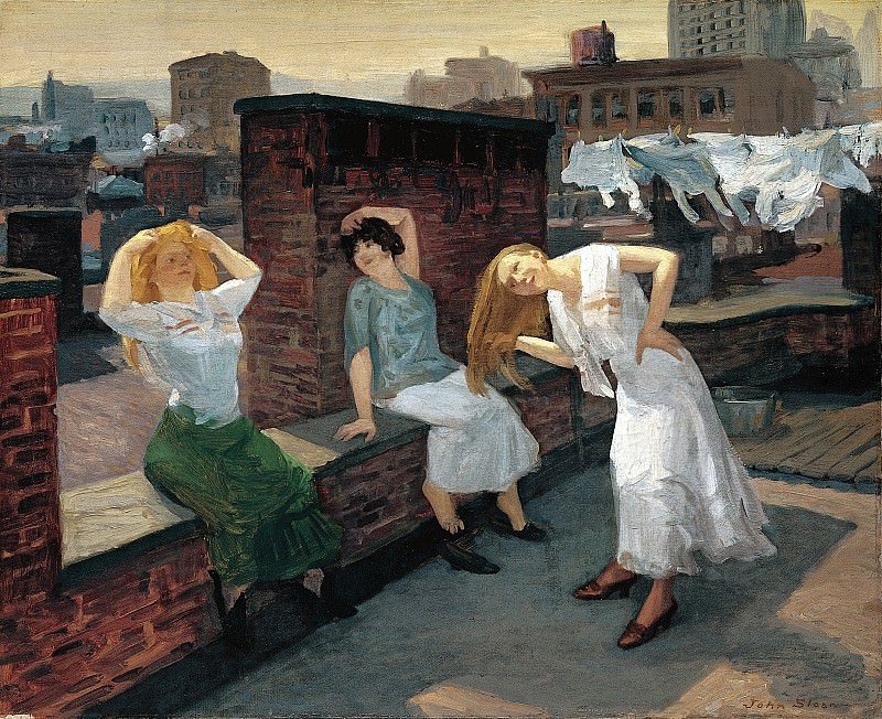 John Sloan (1871-1951) - Sunday, Women Drying Their Hair (1912 Addison Gallery of American Art). part 2 American painters
