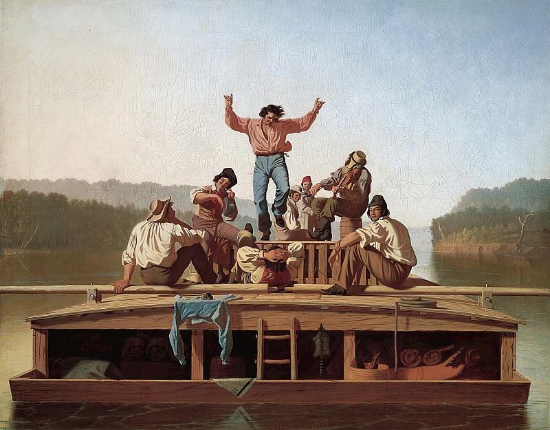 Джордж Калеб Бингем (1811-1879) - Весельчаки на плоскодонной барже. часть 2 Американские художники