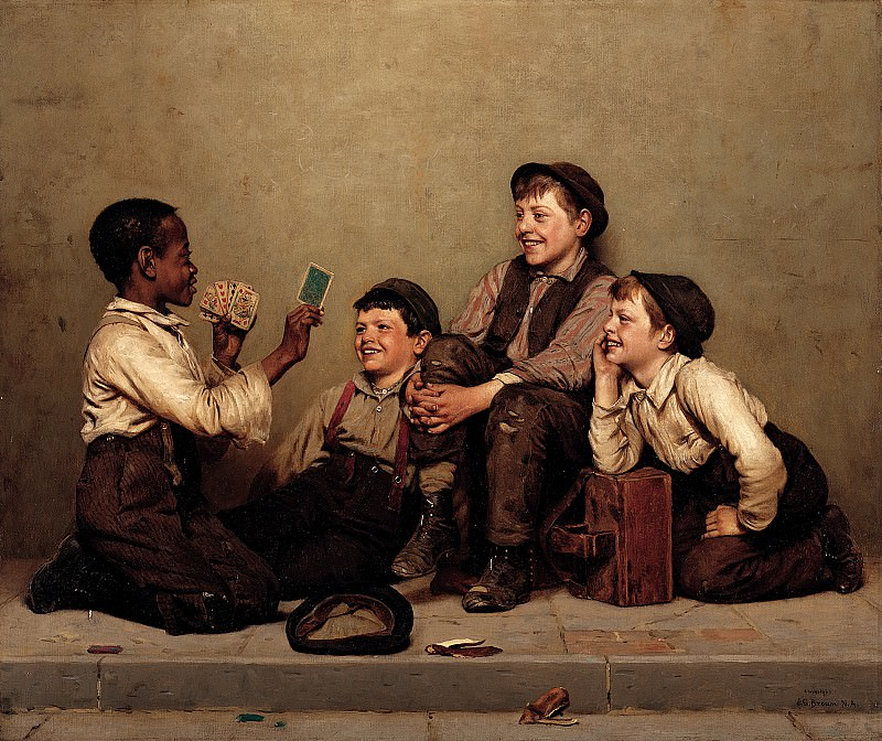 John George Brown (1831-1913) - The Card Trick (1880-89 Joslyn Art Museum). part 2 American painters