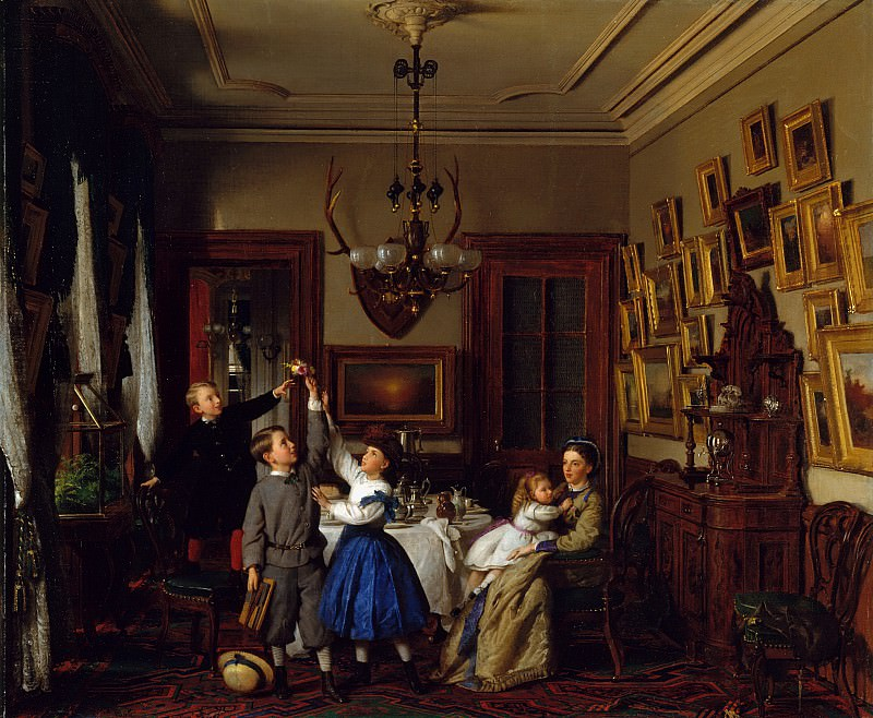 Seymour Joseph Guy (1824-1910) - The Contest for the Bouquet The Family of Robert Gordon in Their New York Dining-Room (1866 The Metropolitan Museum of Art). part 2 American painters