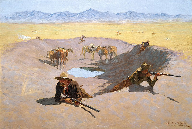 Frederic Remington (1861-1909) - Fight for the Water Hole (1903 The Museum of Fine Arts). part 2 American painters