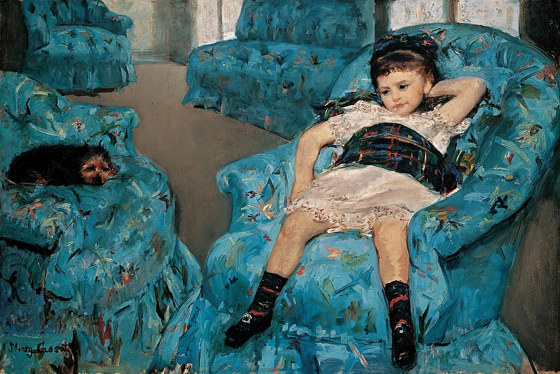 Мэри Кассат (1844-1926) - Маленькая девочка в синем кресле. часть 2 Американские художники