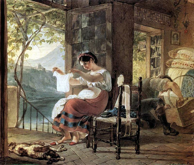 Italian girl who is expecting a child and looking at my shirt, my husband knocking together a cradle. 1831. Karl Pavlovich Bryullov