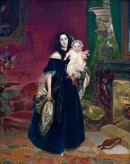 Portrait of M.A. Beck with his daughter. Karl Pavlovich Bryullov