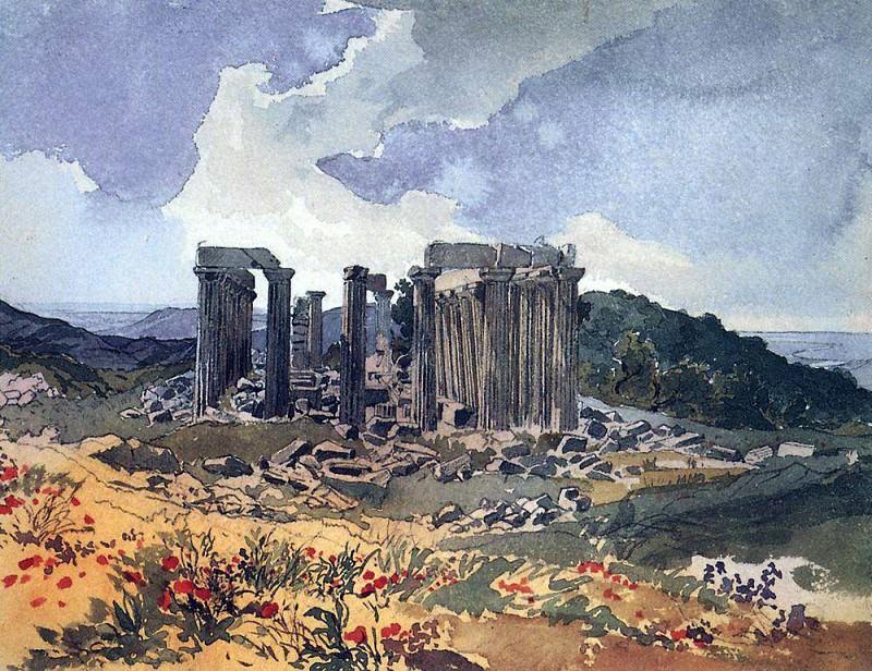 Temple of Apollo Epikourios in Figalii. 1,835. Karl Pavlovich Bryullov