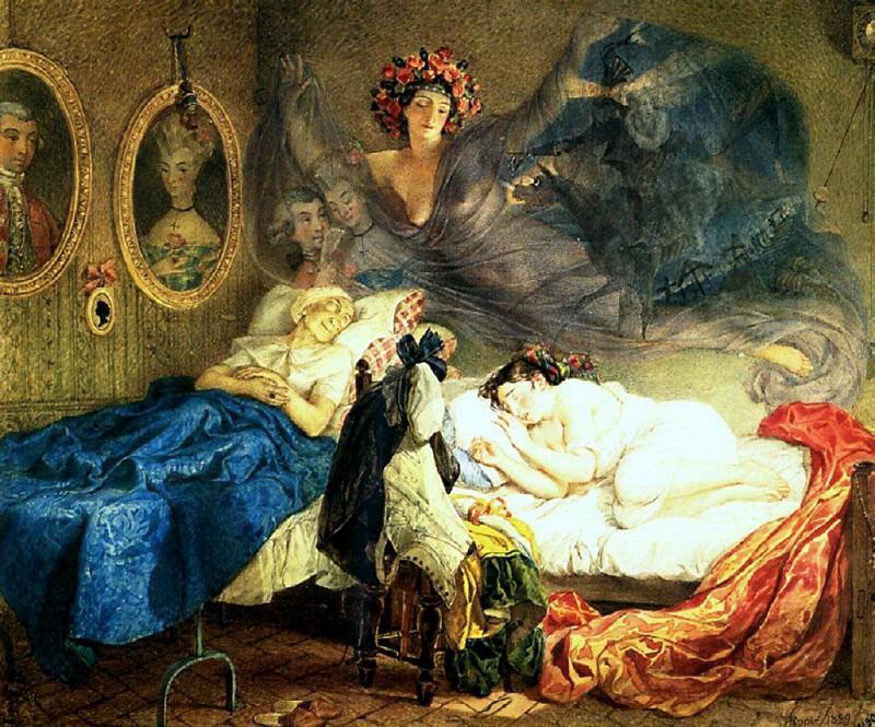 Sleep grandmothers and granddaughters. 1829. Karl Pavlovich Bryullov