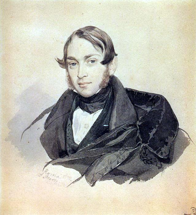 Portrait of S. sobolev. 1832. Karl Pavlovich Bryullov