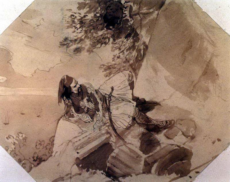 Greek lying on a rock. 1,835. Karl Pavlovich Bryullov