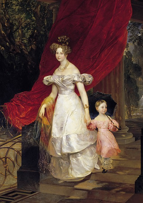 Portrait conducted. book. Elena Pavlovna with her daughter Maria.. Karl Pavlovich Bryullov