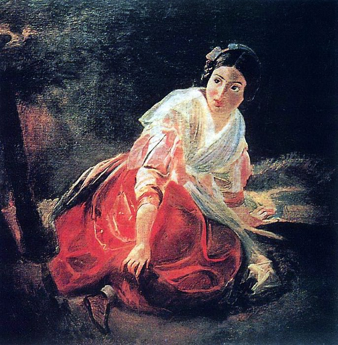 Girl in the woods. 1851-1852. Karl Pavlovich Bryullov