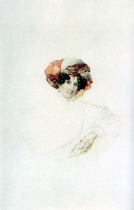 Portrait of an Unknown Woman in a turban. Around 1830. Karl Pavlovich Bryullov