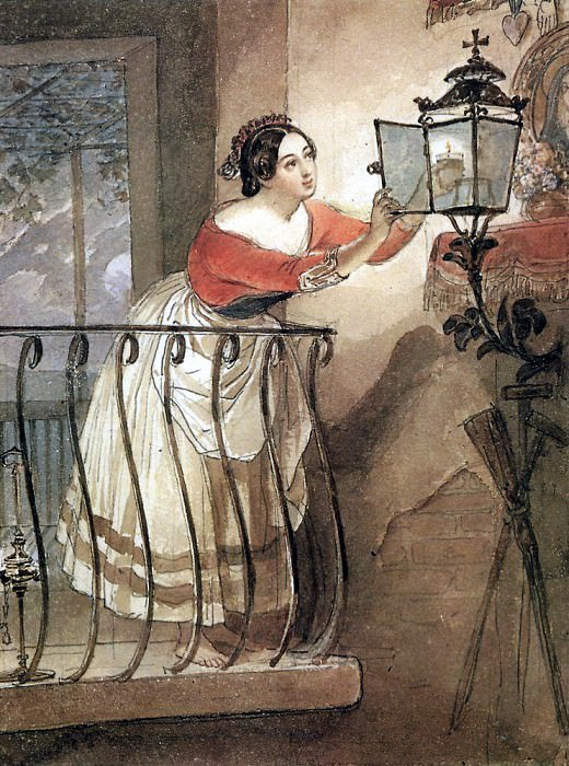 Italiana, lightest the lamps in front of the Madonna. 1835. Karl Pavlovich Bryullov