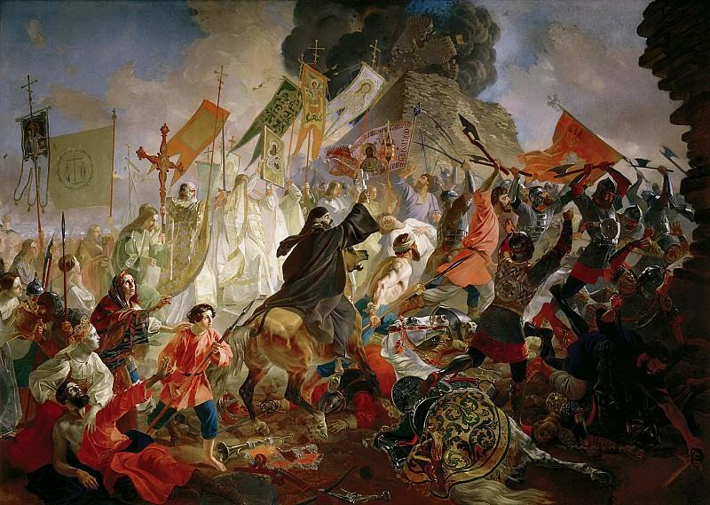 Siege of Pskov Polish King Stephen Bathory in 1581.. Karl Pavlovich Bryullov