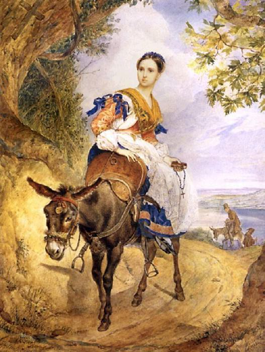 Olga queens on a donkey. 1,835. Karl Pavlovich Bryullov