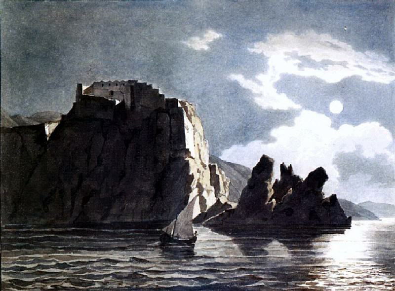 Rock and the moon at night. 1824. Karl Pavlovich Bryullov