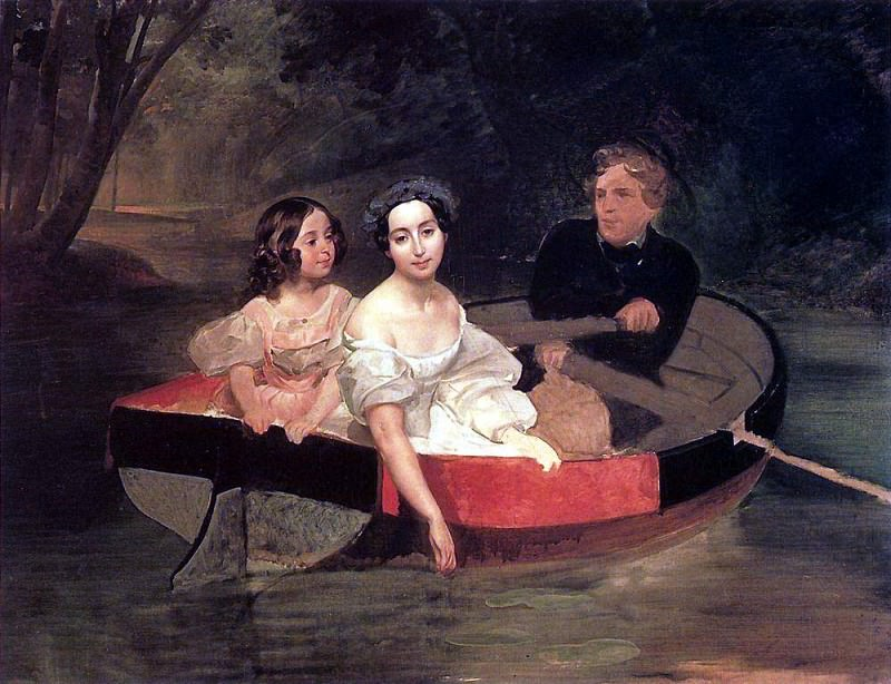 Portrait of the author and Baroness E. N. Muller-Zakomelsky with a girl in the boat. Karl Pavlovich Bryullov