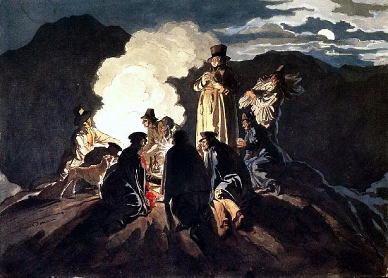 Бивуак на кратере, Везувий. 1824. Карл Павлович Брюллов