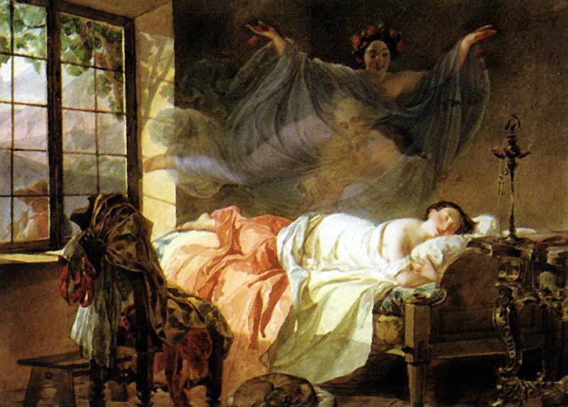 Dream of a young girl before dawn. 1830-1833. Karl Pavlovich Bryullov