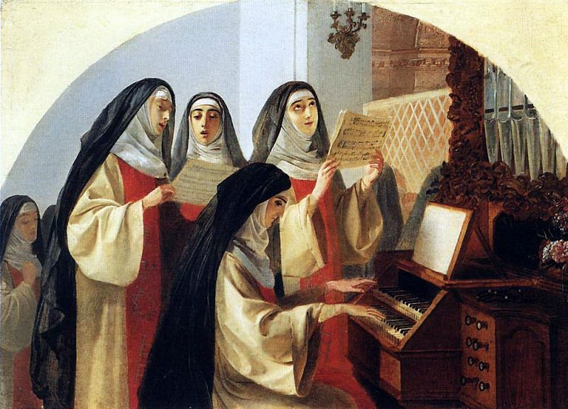 Nuns Convent of the Sacred Heart in Rome, singing at the organ. 1849. Karl Pavlovich Bryullov