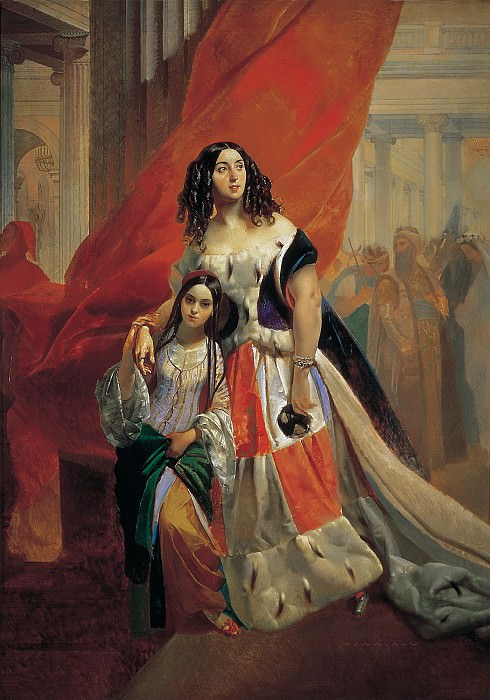 Portrait of Countess Julia Samoilova, moving away from the ball with the stepdaughter Amatsiliey Pachchini.. Karl Pavlovich Bryullov