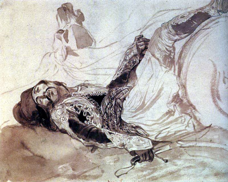 Wounded Greek, falling from a horse. 1,835. Karl Pavlovich Bryullov