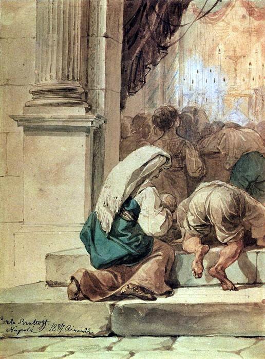 scene on the threshold of the temple. 1827. Karl Pavlovich Bryullov