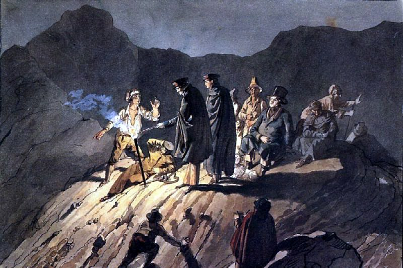 Members of the expedition to Mount Vesuvius. 1824. Karl Pavlovich Bryullov