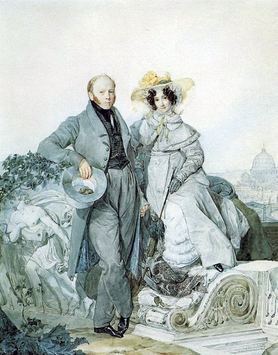 Portrait of GN and VA Olenin. 1827. Karl Pavlovich Bryullov