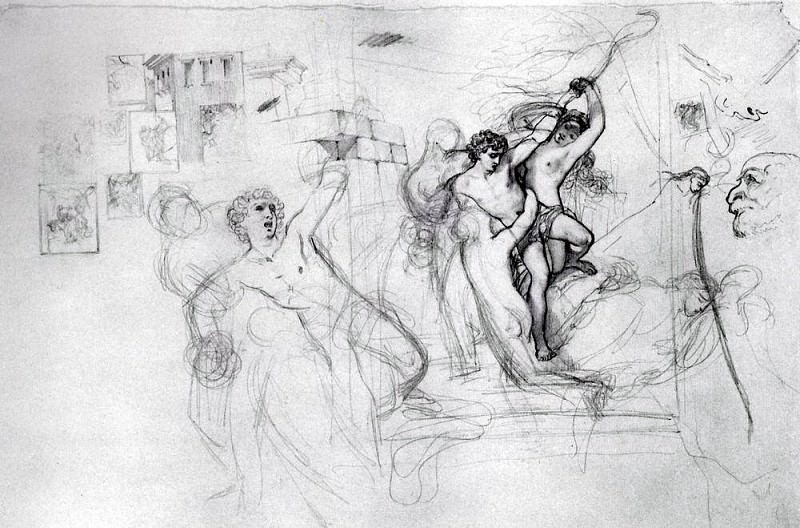 Hylas, carried away by the nymphs in the water. 1823-1827. Karl Pavlovich Bryullov
