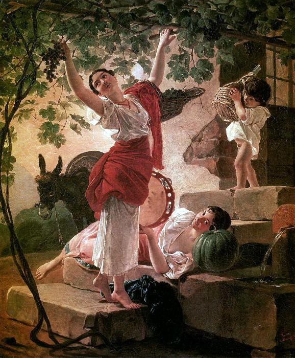 Девушка, собирающая виноград в окрестностях Неаполя. 1827. Карл Павлович Брюллов
