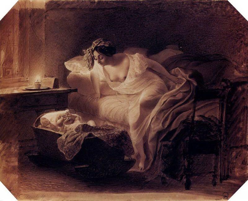 Мать, просыпающаяся от плача ребенка. 1831. Карл Павлович Брюллов