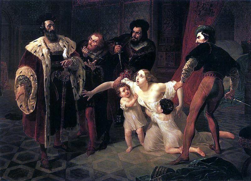 Death of Inessa de Castro. 1834. Karl Pavlovich Bryullov